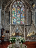 Winchelsea Parish Church, The Font and Baptistry Window by Douglas Strachan